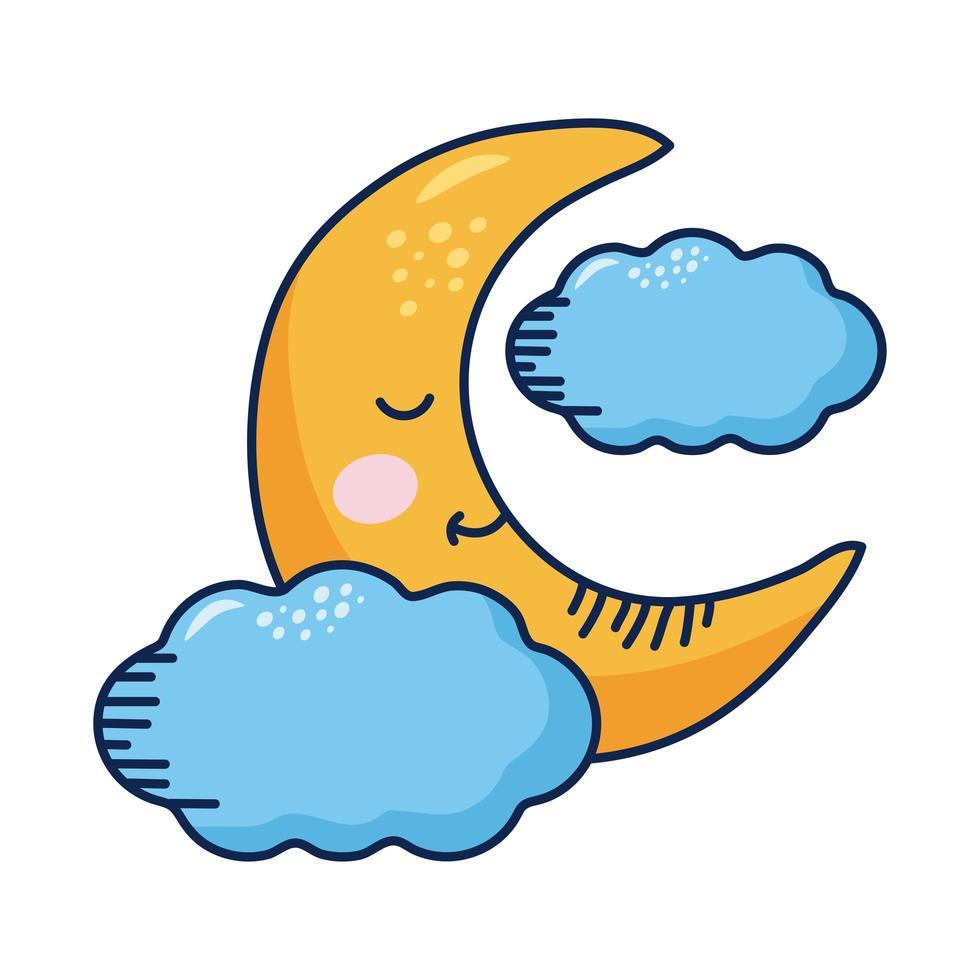 personagem de quadrinhos de lua crescente e nuvens kawaii vetor