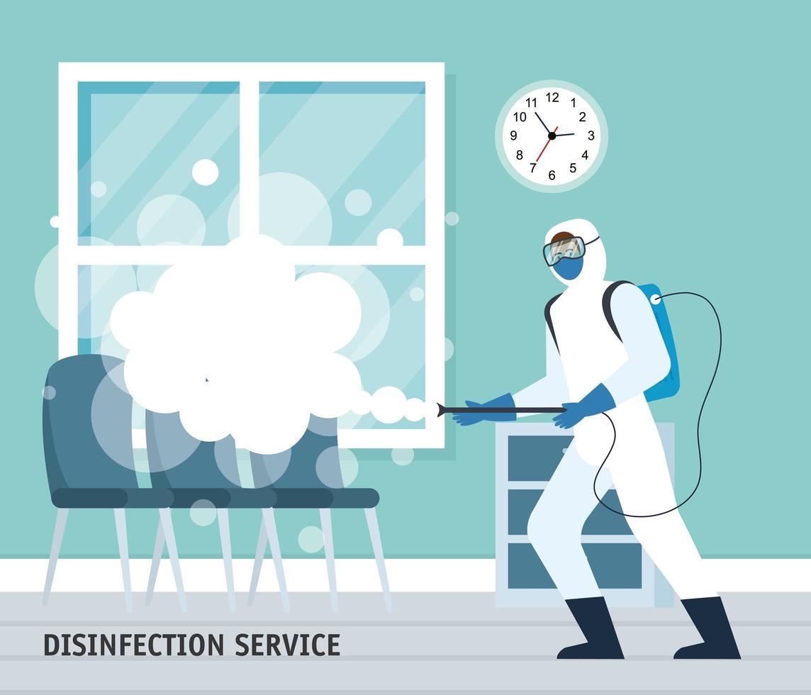 homem com traje de proteção, pulverizando a sala de espera com design de vetor 19 covid