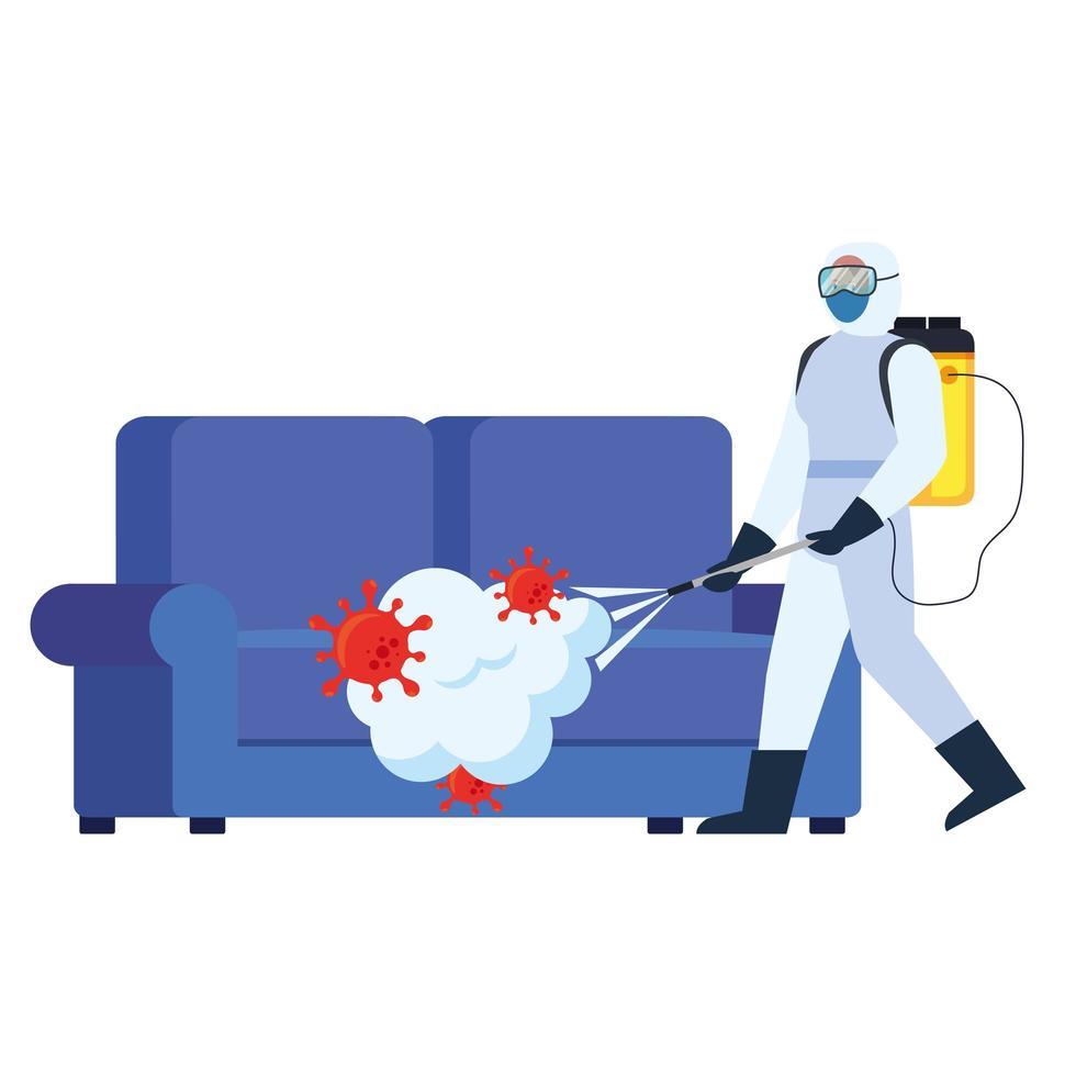 homem com roupa protetora pulverizando sofá com design de vetor de vírus covid 19
