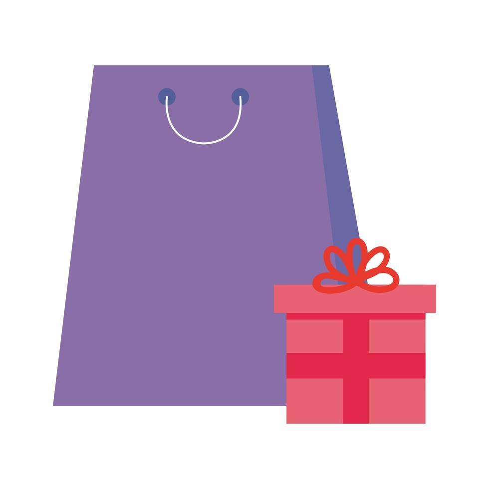 desenho vetorial de sacola de compras e presente vetor