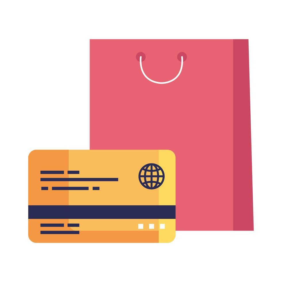 desenho vetorial de sacola de compras e cartão de crédito vetor