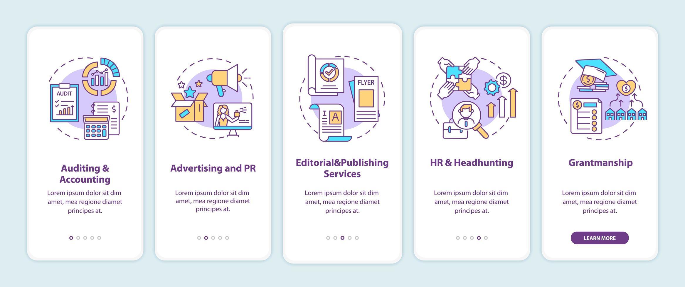 principais serviços de consultoria de negócios na tela da página do aplicativo móvel com conceitos vetor