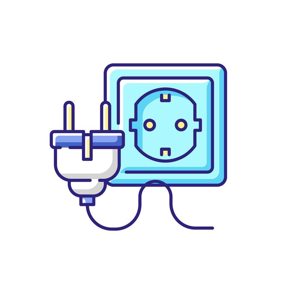 inserção elétrica para ícone de cor de cabo rgb vetor