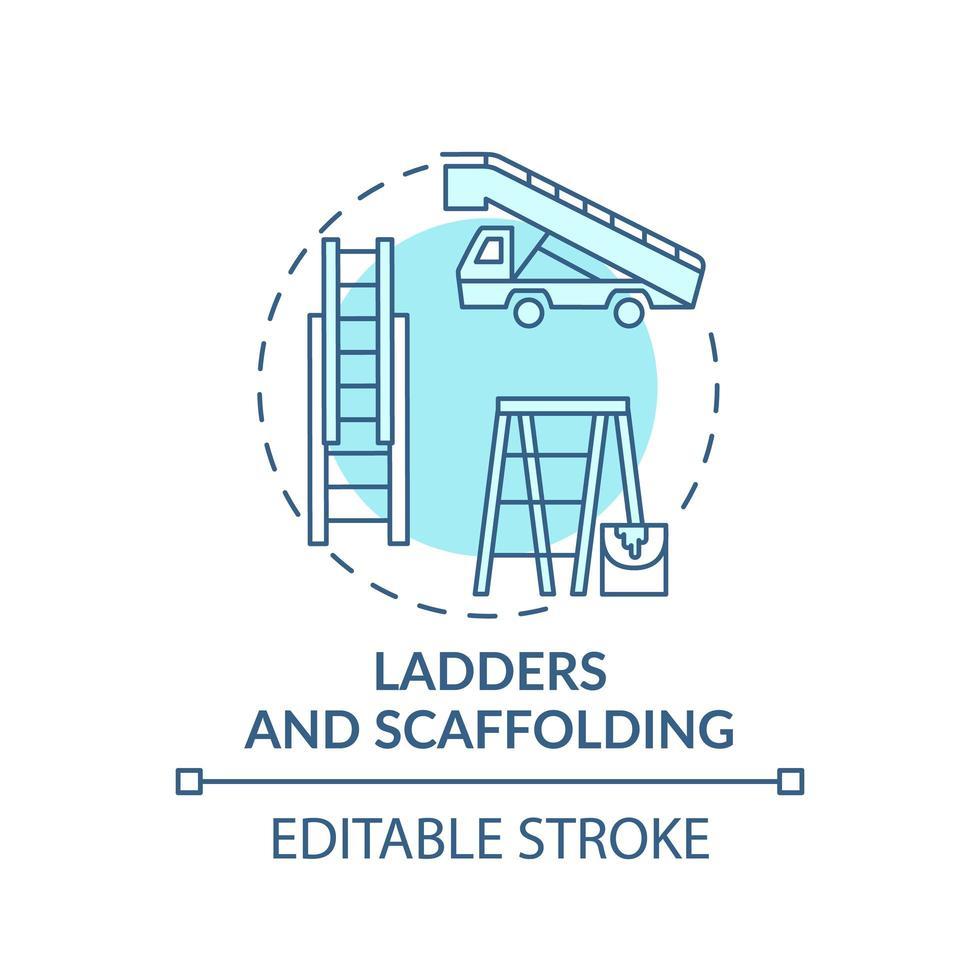 ícone do conceito de escadas e andaimes vetor