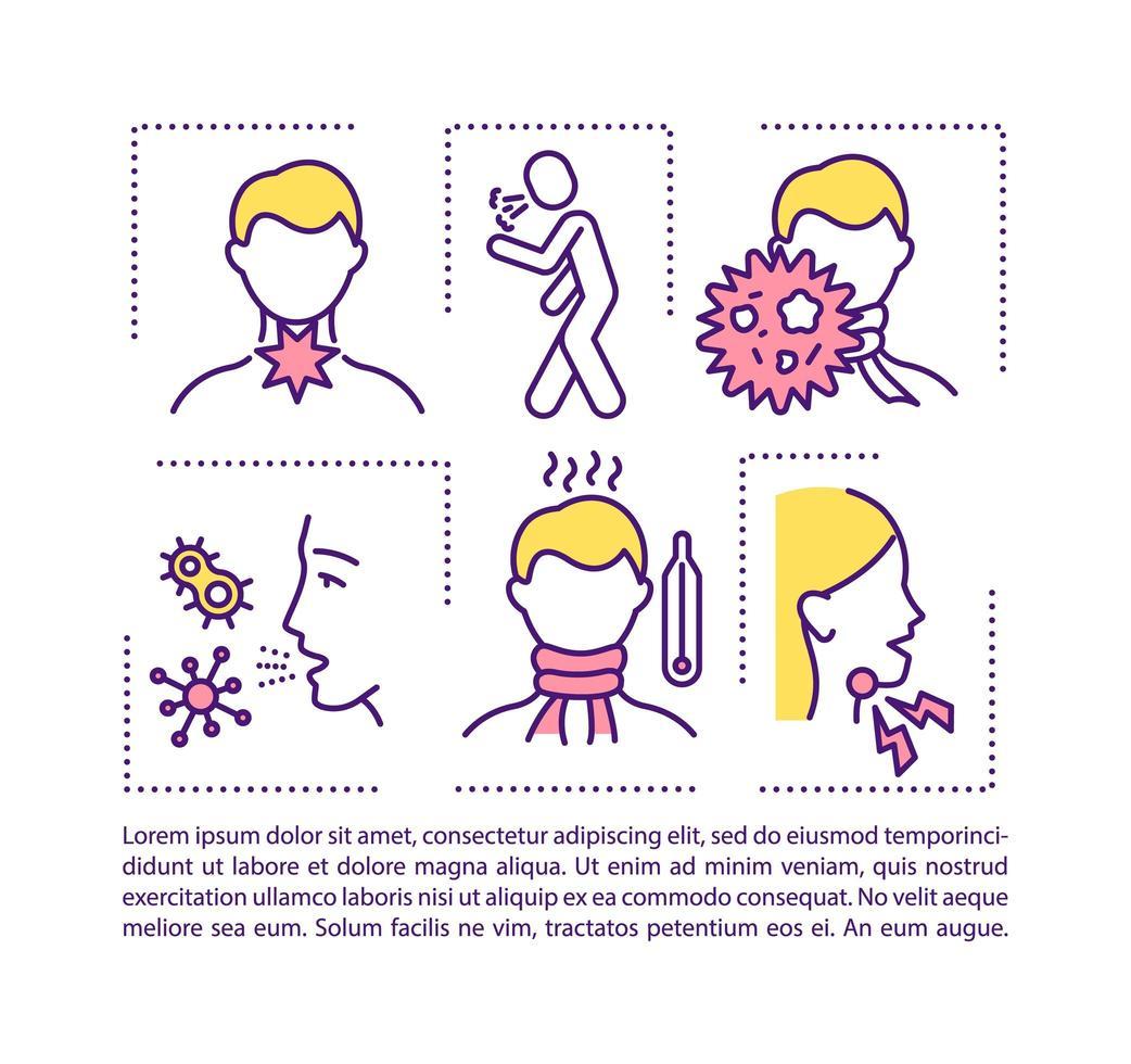 ícone do conceito de dor de garganta com texto vetor