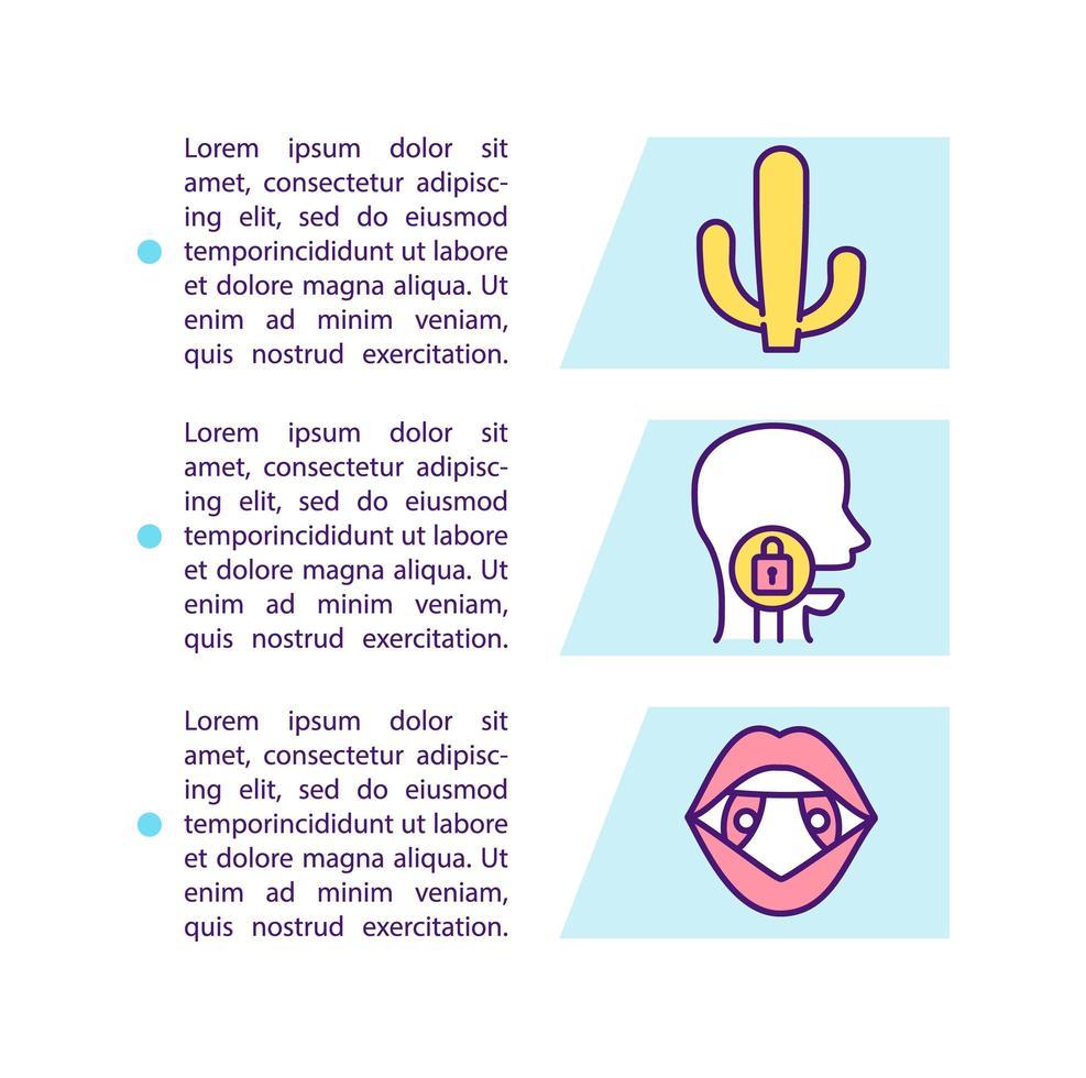 ícone do conceito de sintomas de dor de garganta com texto vetor