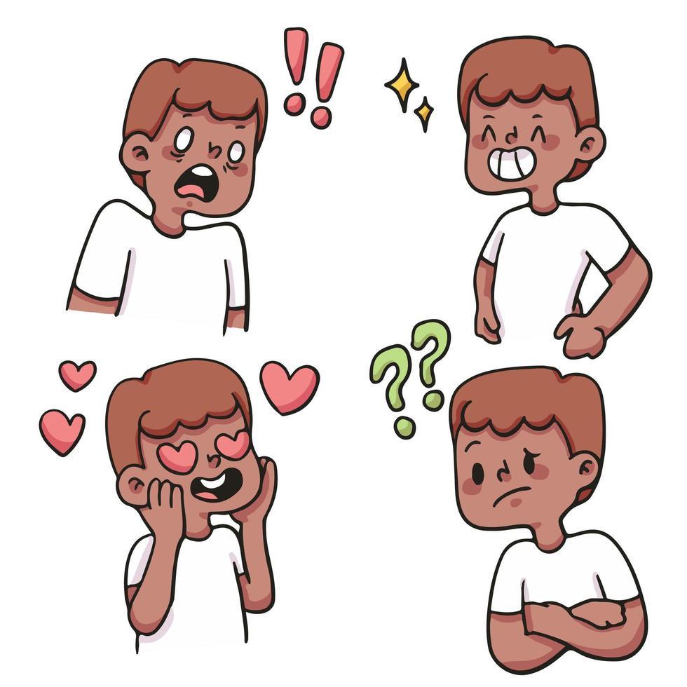 menino tipo diferente de reação conjunto ilustração bonito dos desenhos animados vetor