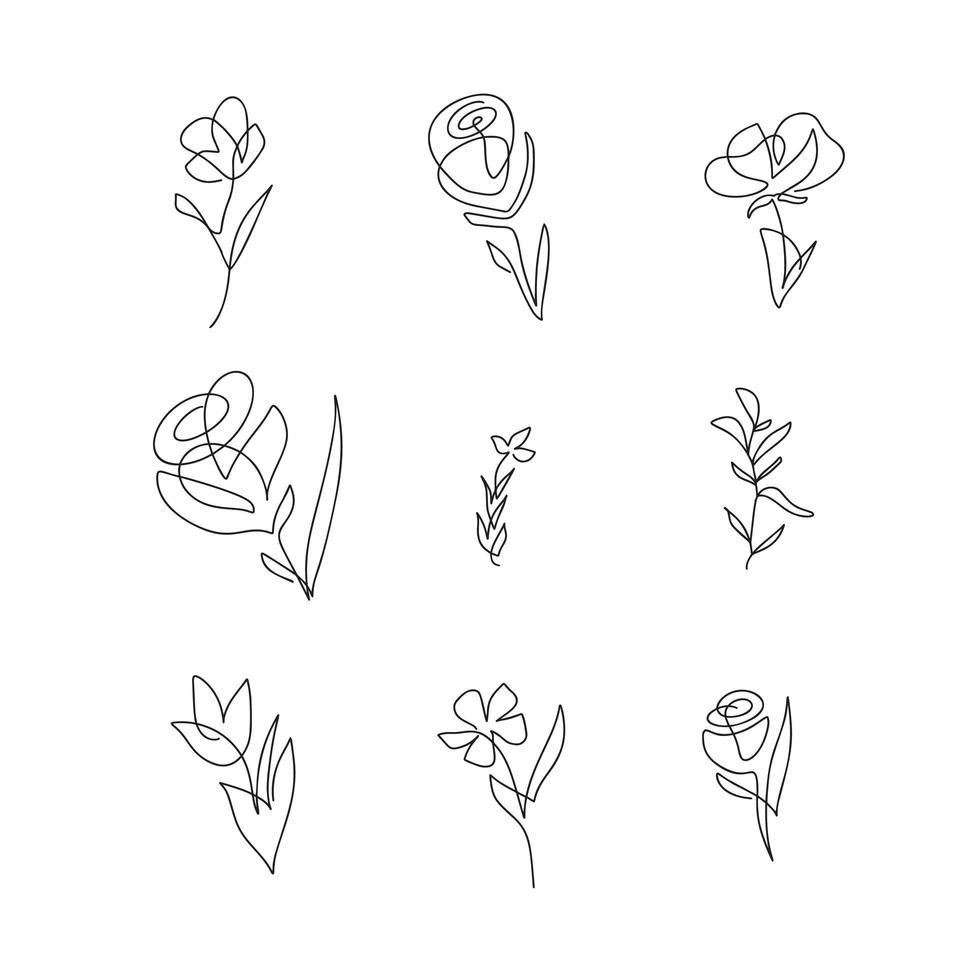 conjunto de flores de uma linha do vetor. arte de linha minimalista. Contorno contínuo desenhado à mão. arte de uma linha para decoração elegante em parede ou cartão comemorativo vetor