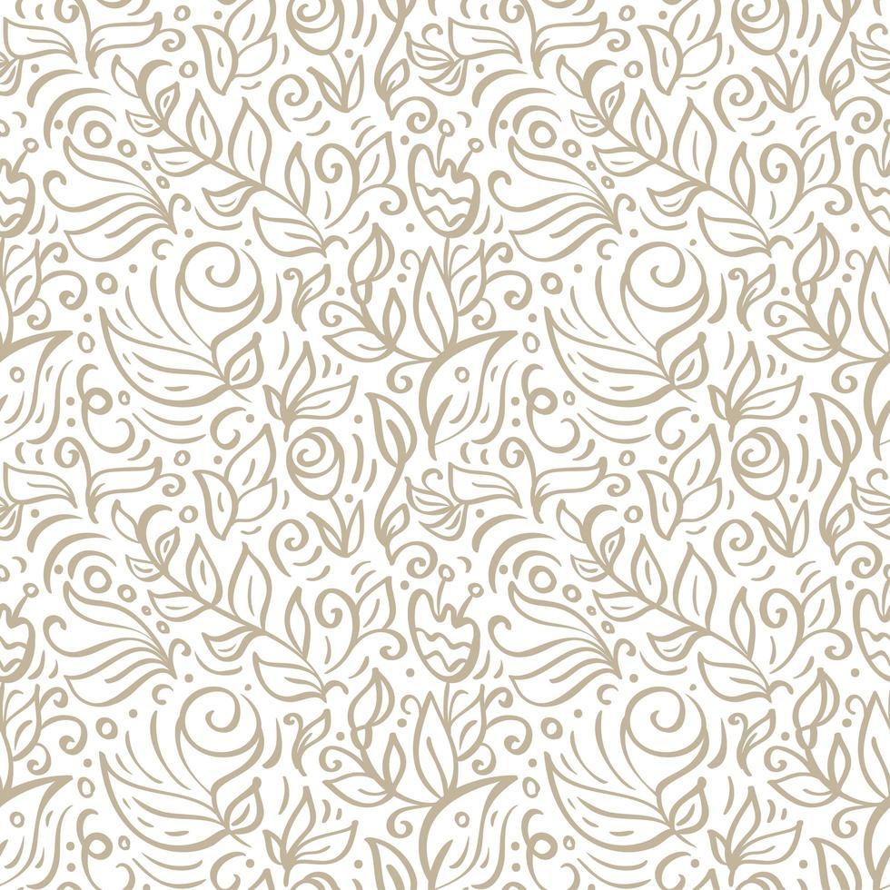 padrão sem emenda floral do vetor. tema de flores e folhas. Coleção de verão. pode ser usado para papel de parede, plano de fundo do site, impressão têxtil. mão desenhada infinitas ilustrações de flores sobre fundo claro vetor