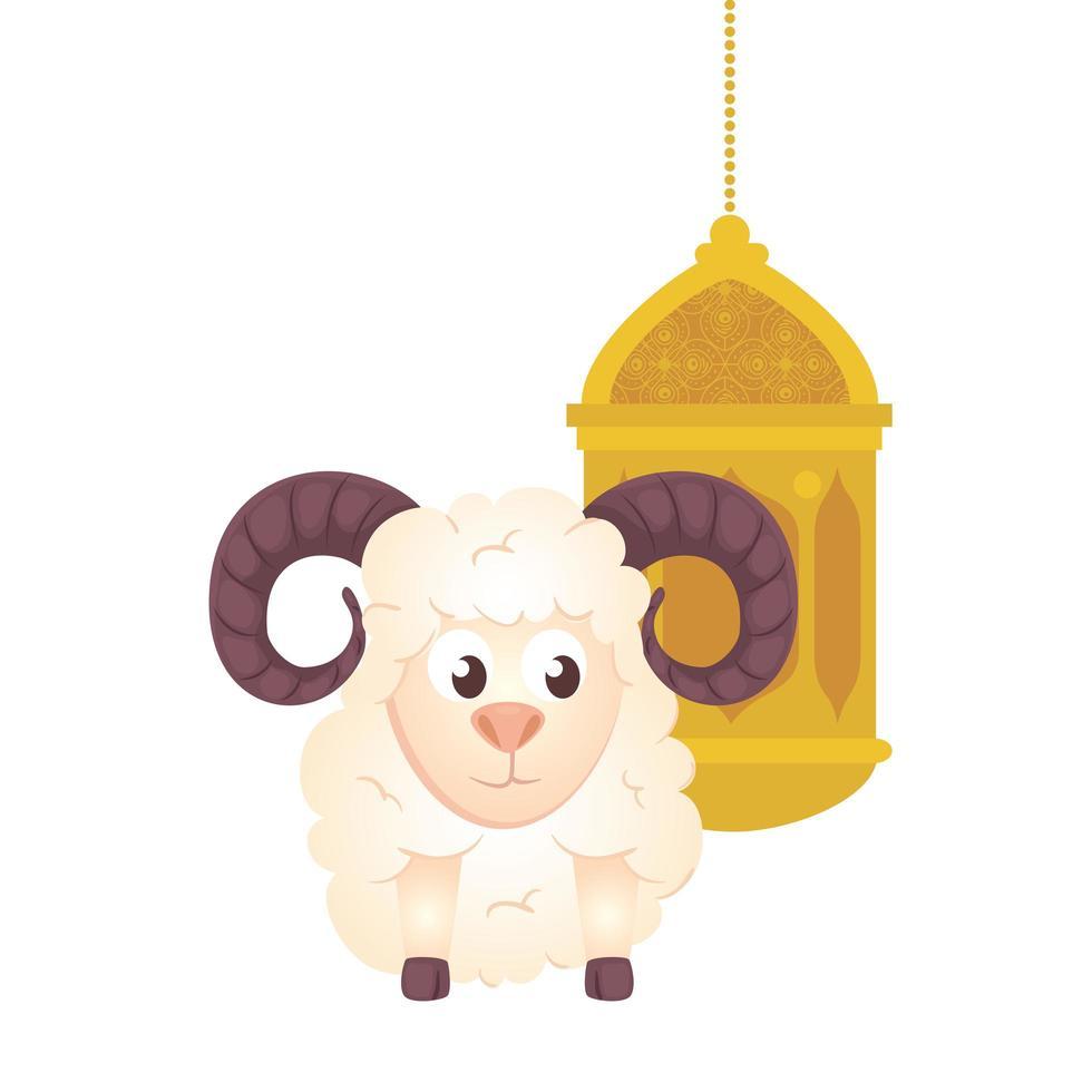 Lanterna Ramadan Kareem com cabra em fundo branco vetor