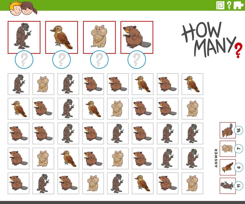 quantos personagens de desenhos animados contando o jogo vetor