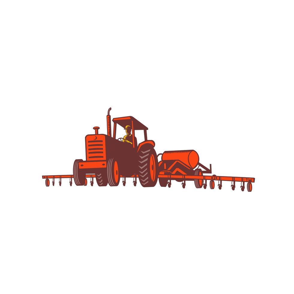 Trator agrícola puxando o emblema retrô do tanque de nitrogênio vetor