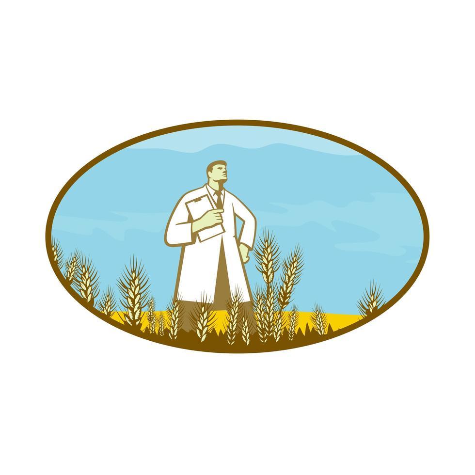 Cientista parado no meio do emblema retro oval de trigo arquivado vetor