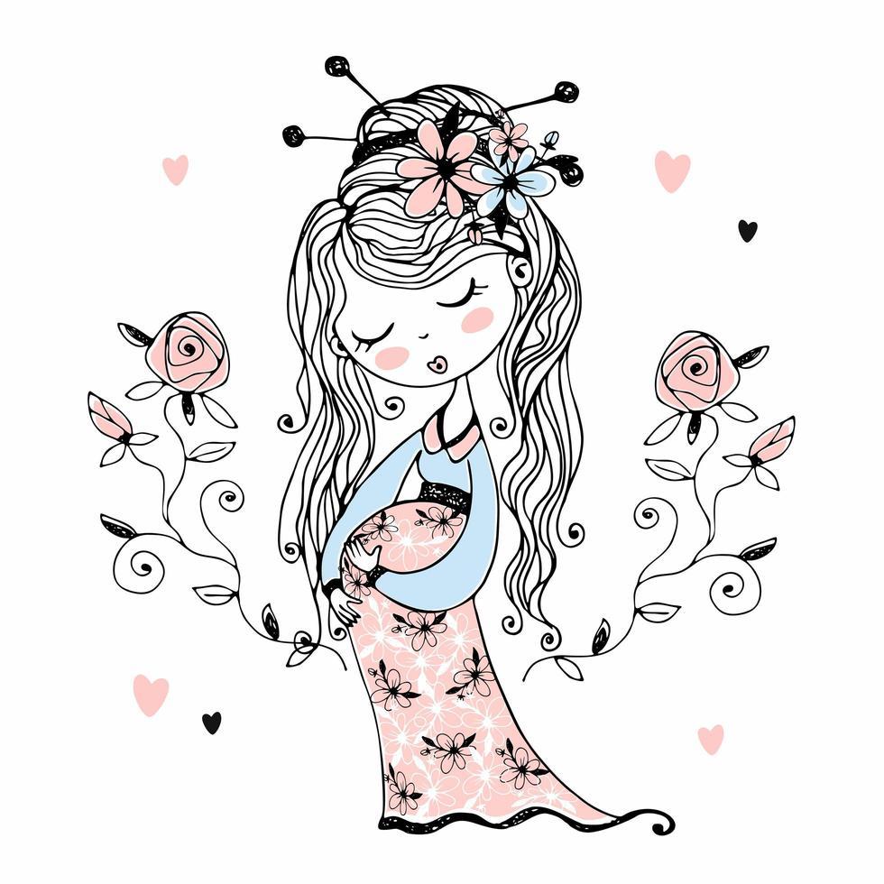 linda garota grávida com flores no cabelo vetor