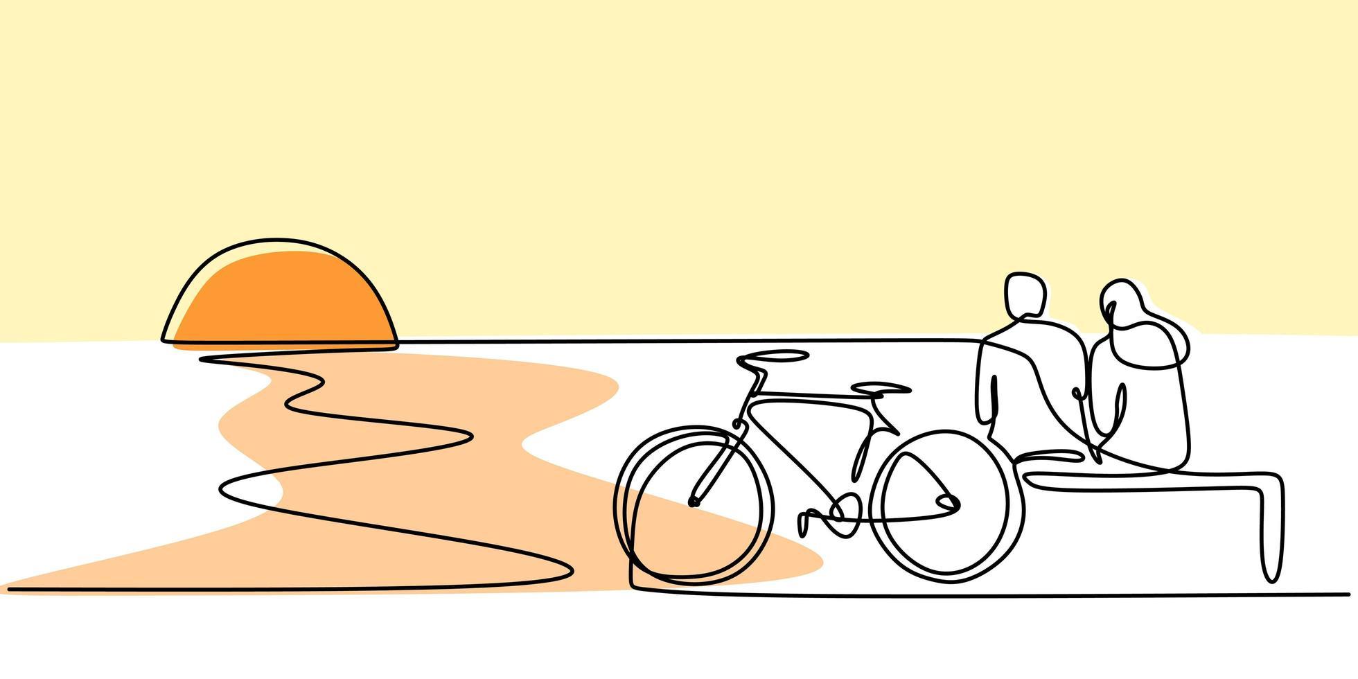 um desenho de linha de casal sentado na praia com bicicletas. vetor