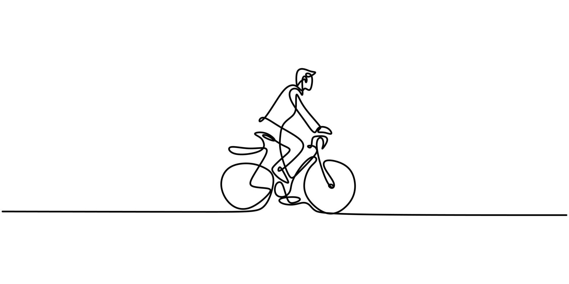 contínuo um desenho de linha homem de bicicleta. vetor