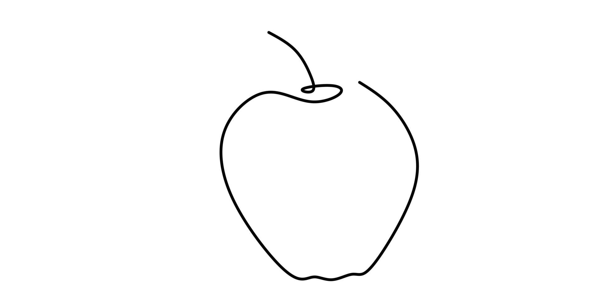 desenho de linha contínua de maçã. vetor