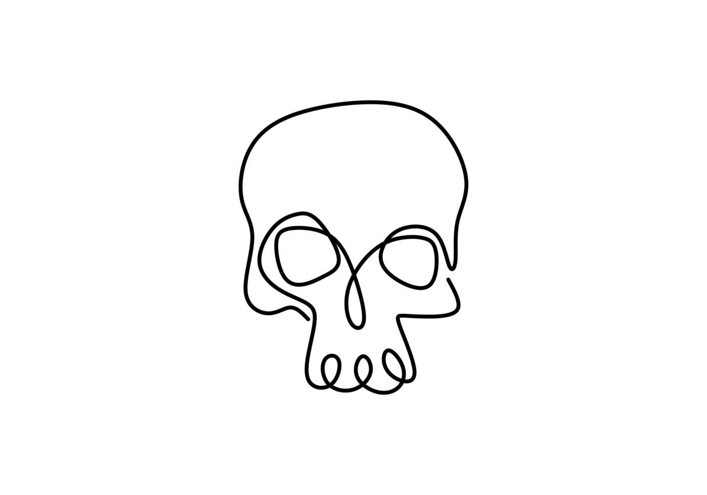 contorno desenhando uma linha contínua com o crânio humano. vetor