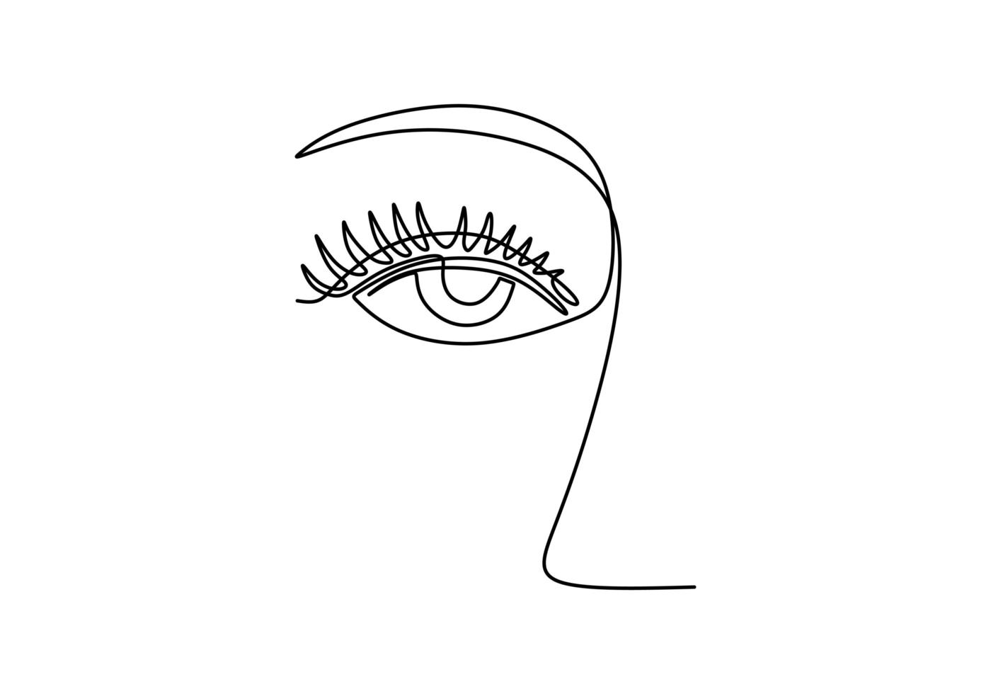 um desenho de linha contínua de esboço linear minimalista de olho de mulher. vetor