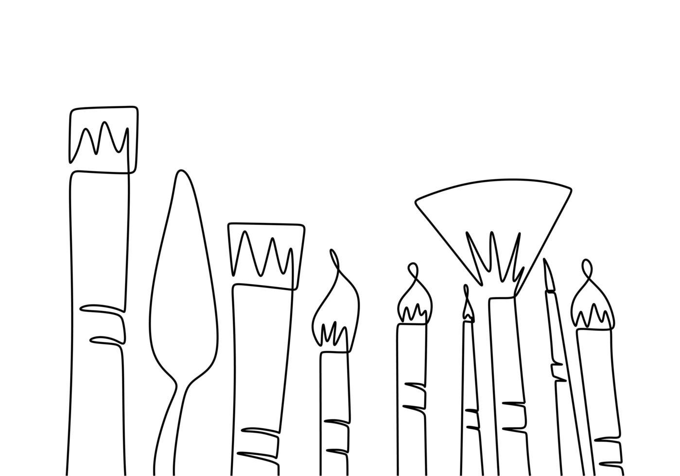 equipamento de arte de pincel um desenho de linha contínua. vetor