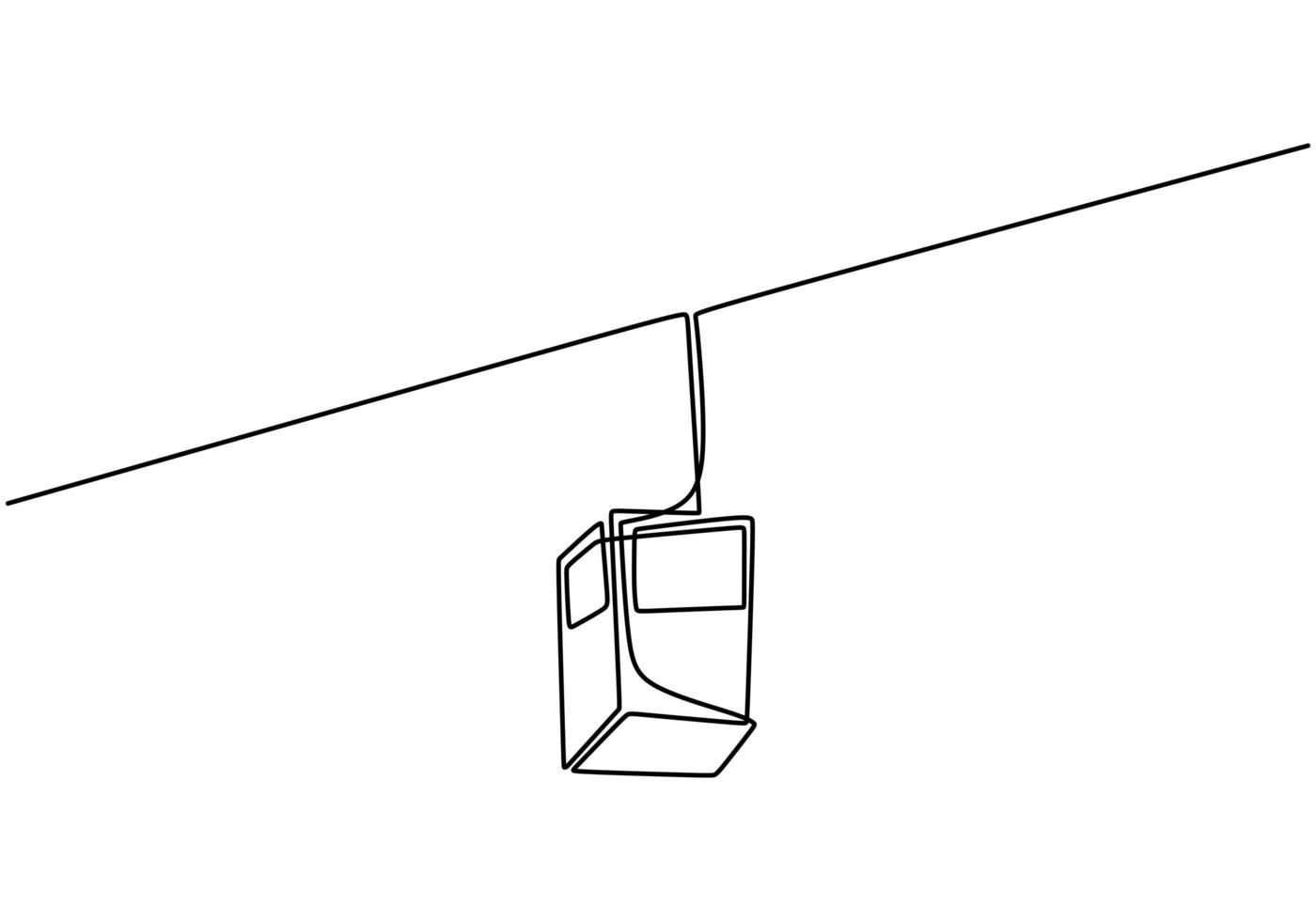um desenho de linha contínua do teleférico. transporte para a montanha. vetor