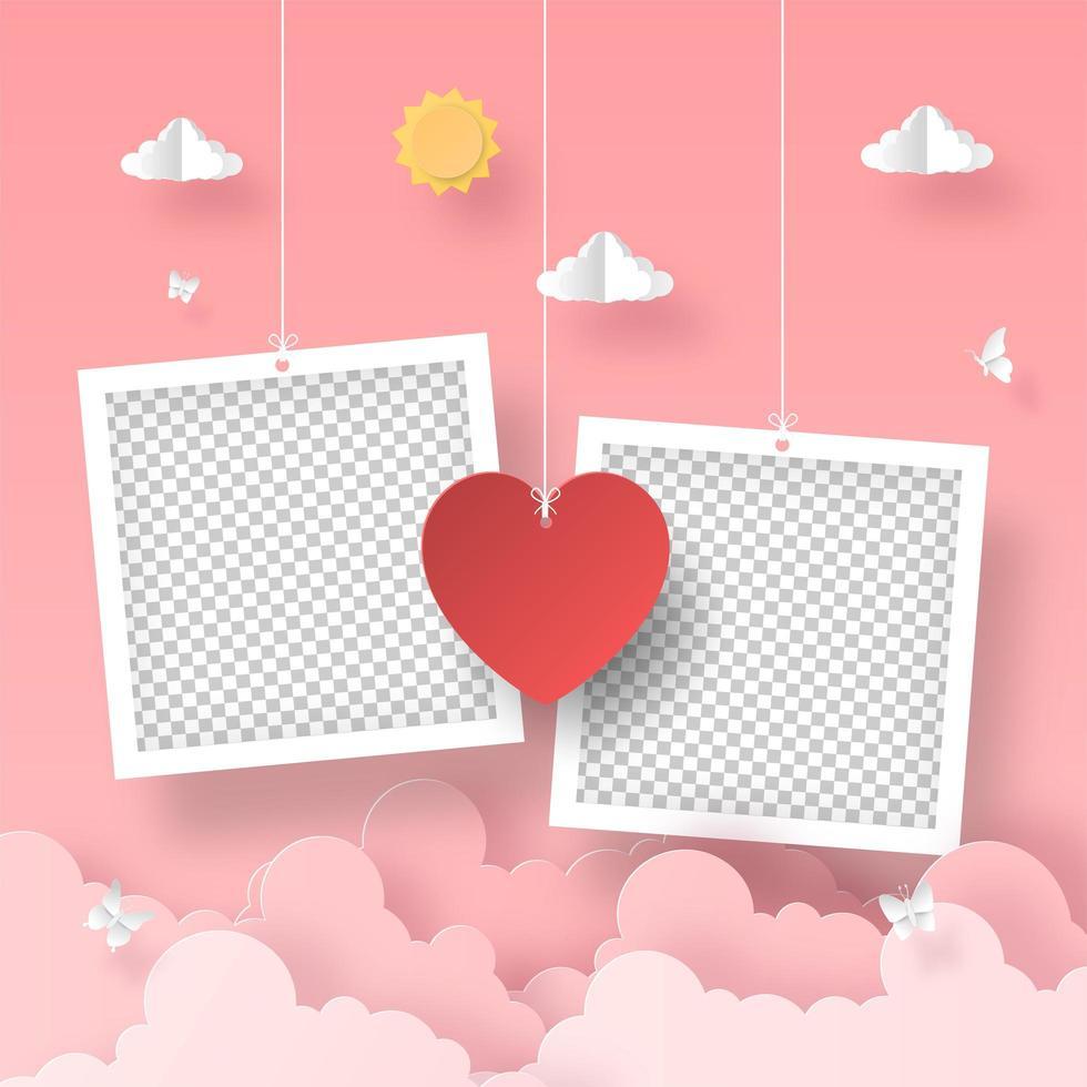 moldura em branco com balão em forma de coração no céu, romântico dia dos namorados vetor