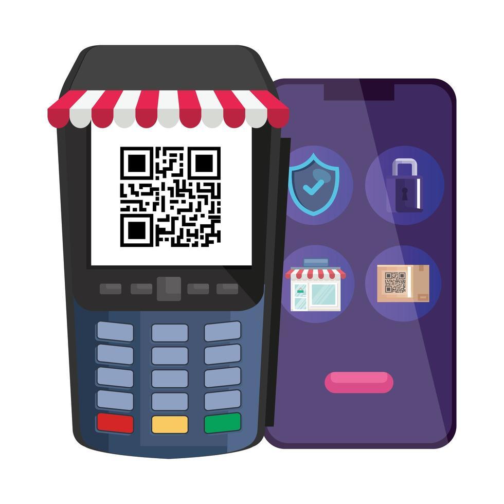 código qr dentro do dataphone e desenho vetorial de smartphone vetor