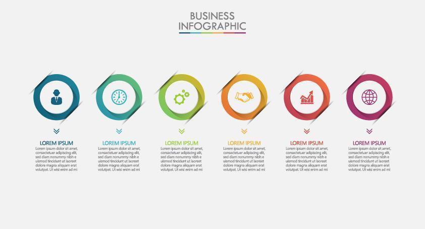 apresentação de infográficos modernos de 6 etapas vetor