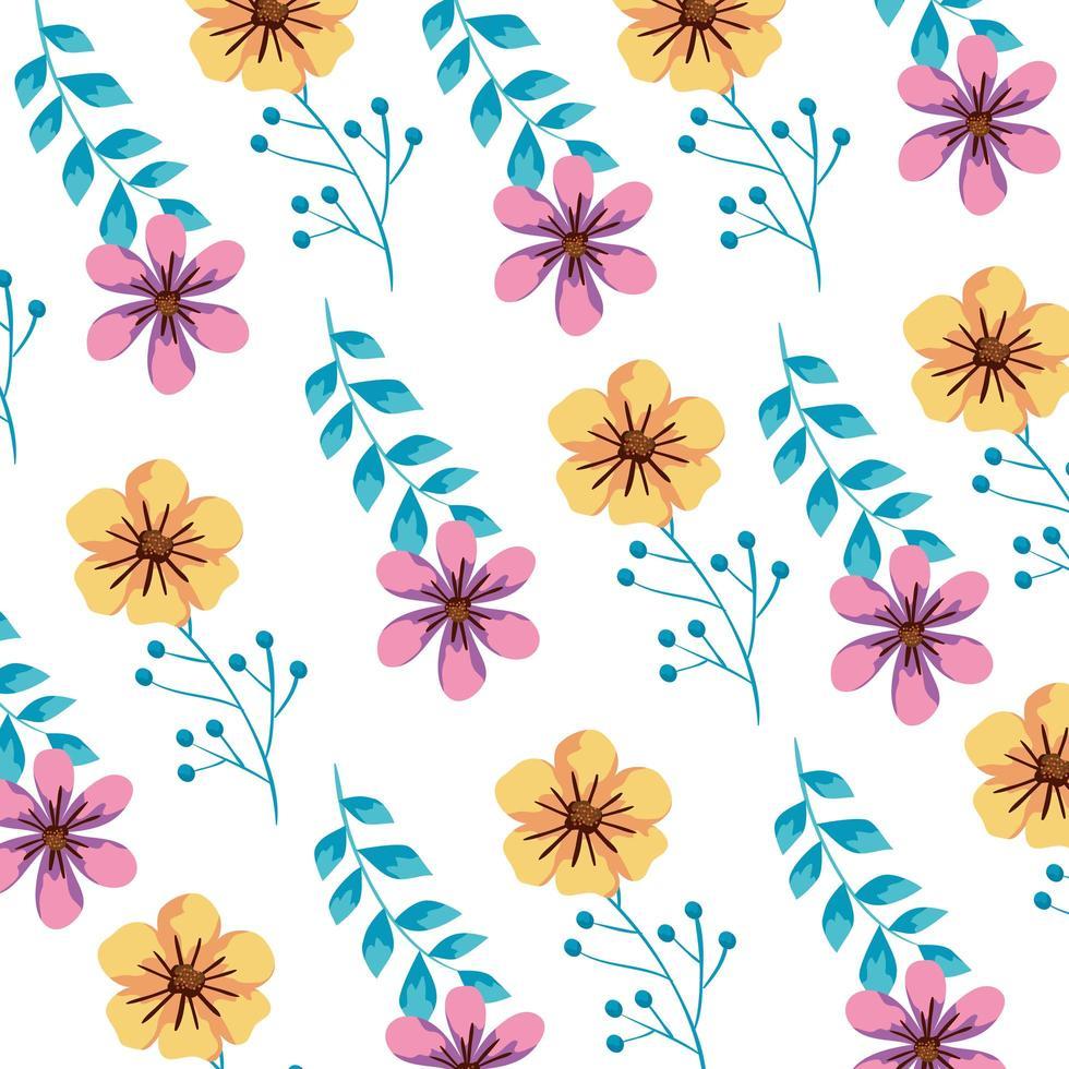 fundo de flores e folhas fofas vetor