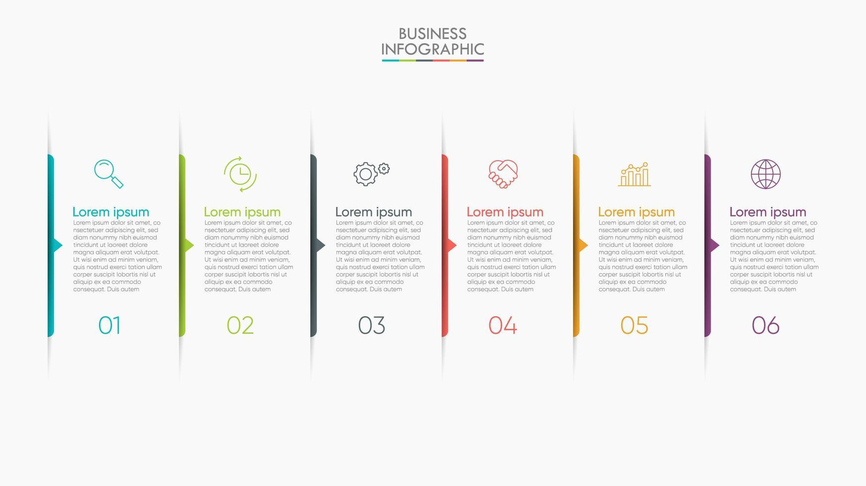 apresentação de infográficos modernos em 6 etapas vetor