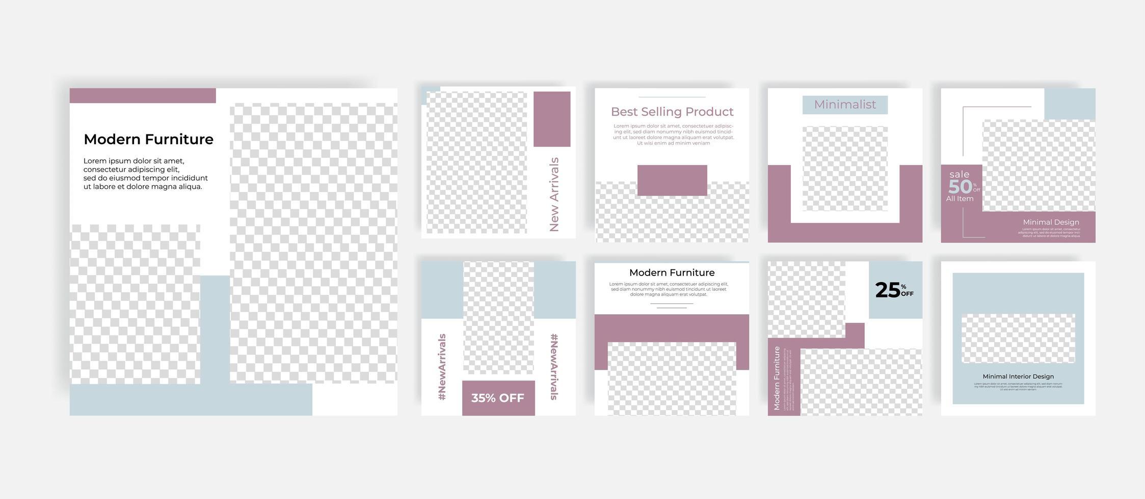 postagem de modelos de mídia social minimal furniture vetor