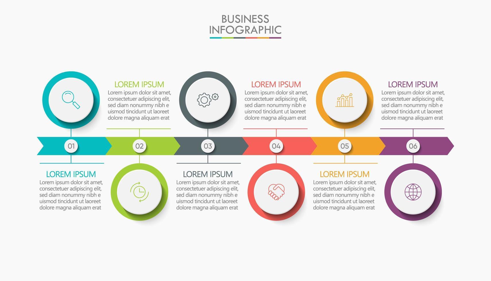 seta infográfico modelo 6 etapas vetor