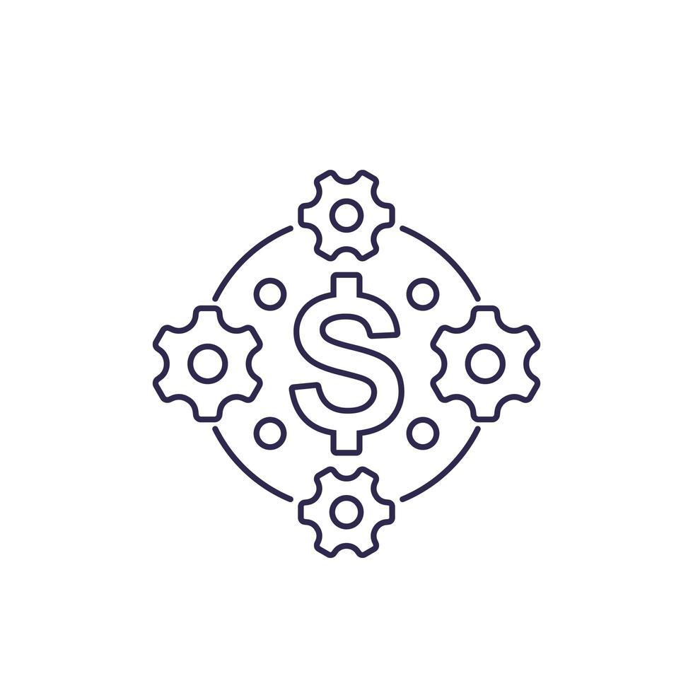 otimização de custos, eficiência, conceito financeiro, ícone de linha vetor