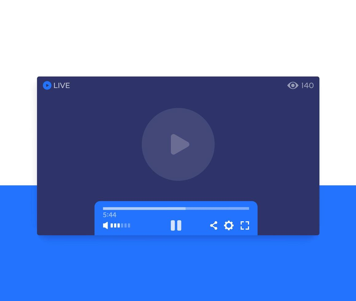 player de streaming de vídeo ao vivo, design de interface do usuário vetor