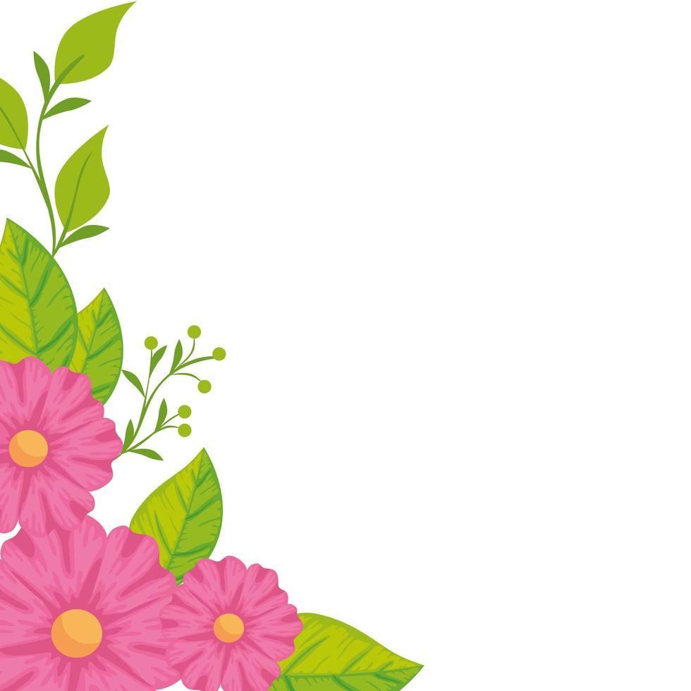 decoração de flores fofas com folhas vetor