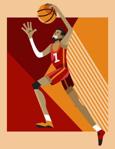 Exagerado Basketball Dunk Pose Player Vector