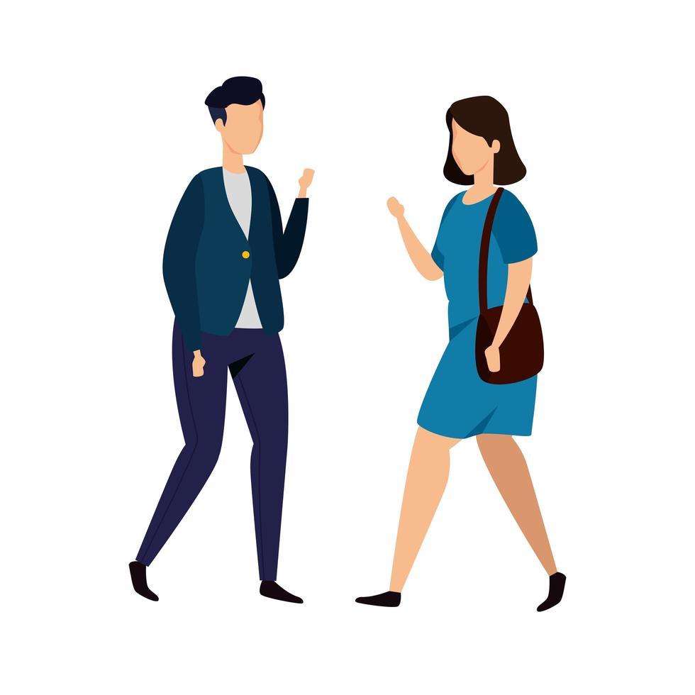 ícone de personagem avatar jovem casal vetor