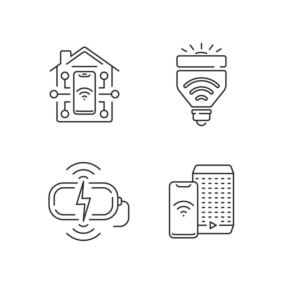 acesso remoto a diferentes dispositivos lineares conjunto de ícones vetor