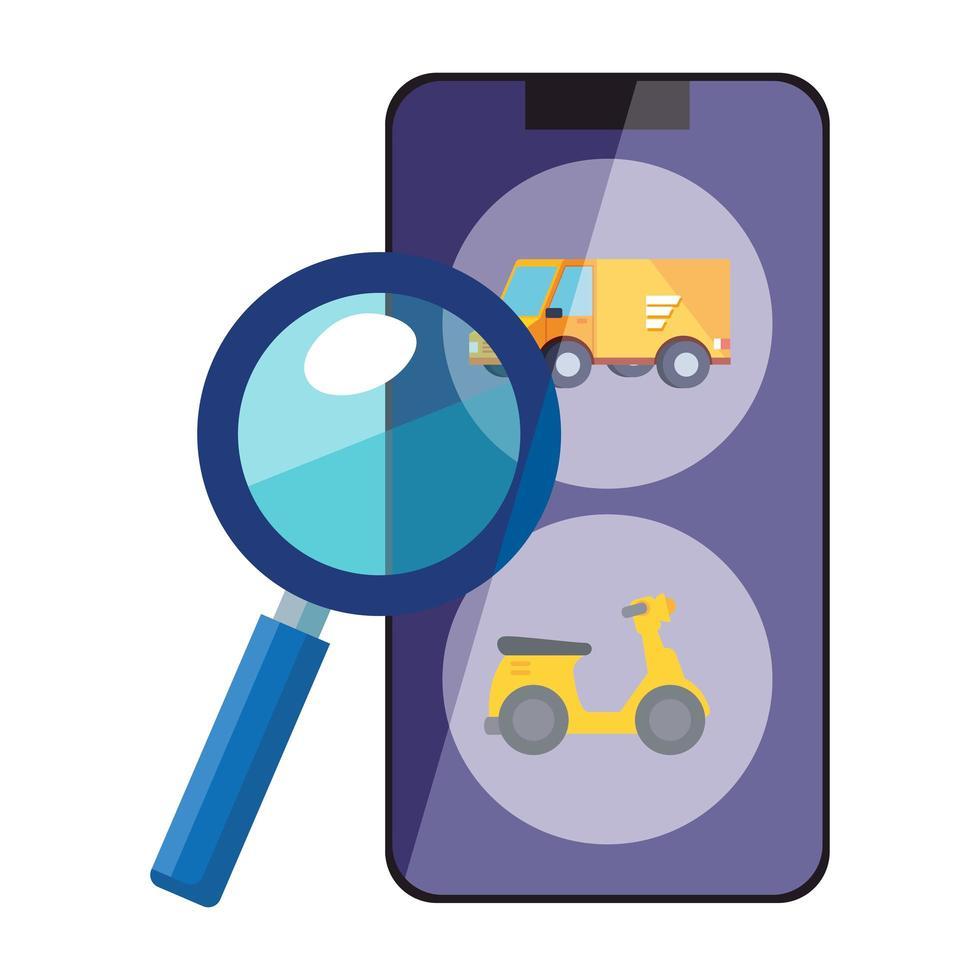 smartphone com aplicativo de serviço logístico e lupa vetor