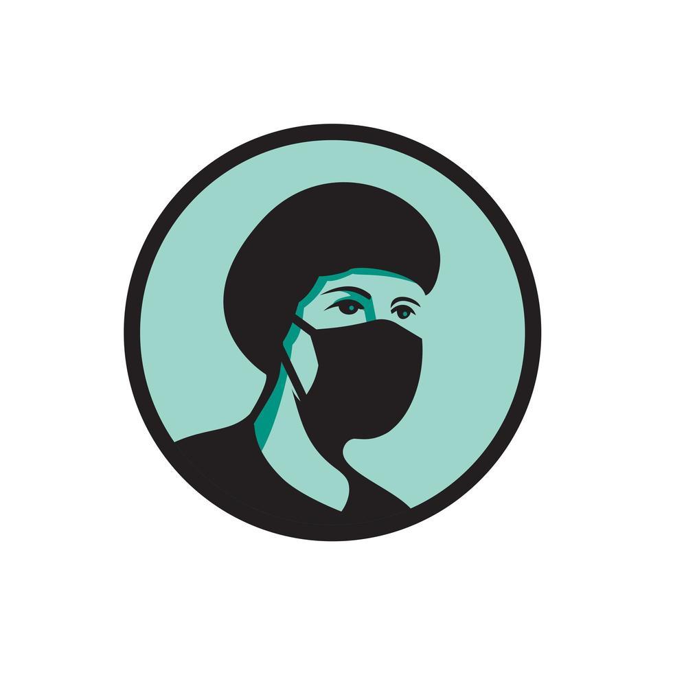 enfermeira usando máscara preta mascote vetor