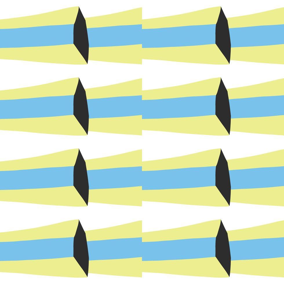 padrão sem emenda de vetor, fundo de textura. mão desenhada, cores azuis, amarelas, pretas, brancas. vetor