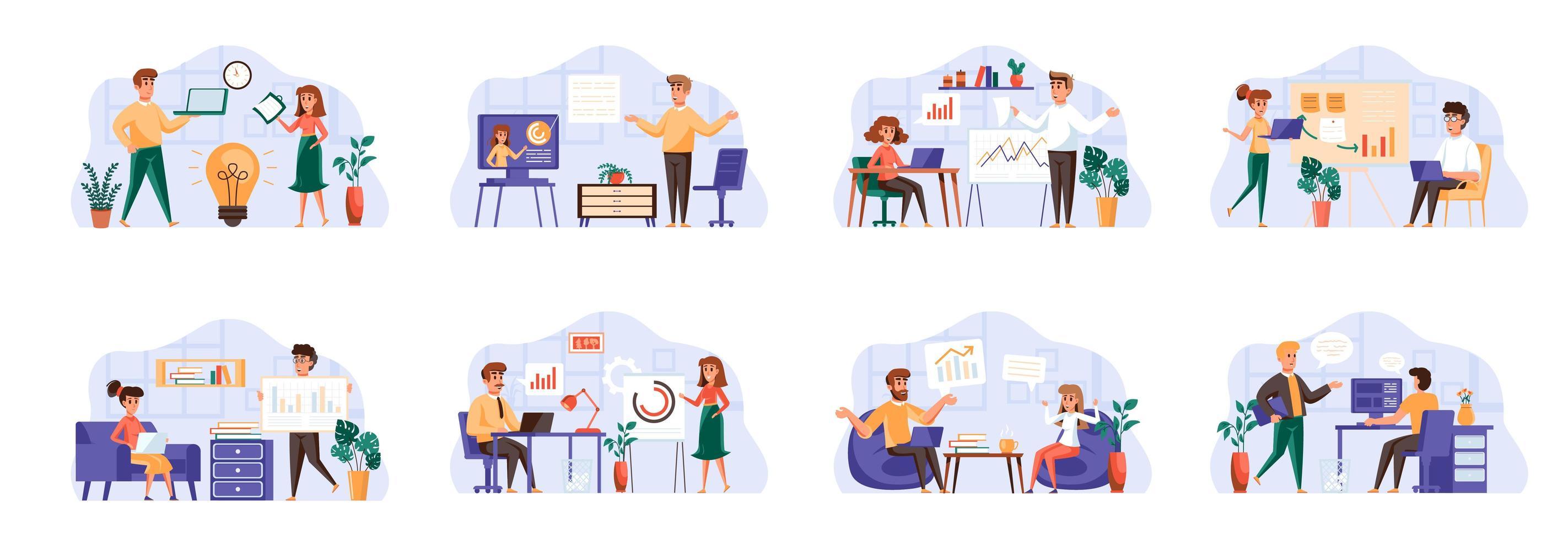 as cenas de reuniões de negócios combinam com personagens de pessoas. vetor