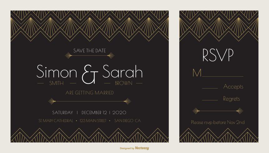 Molde do vetor do projeto do convite do casamento do art deco