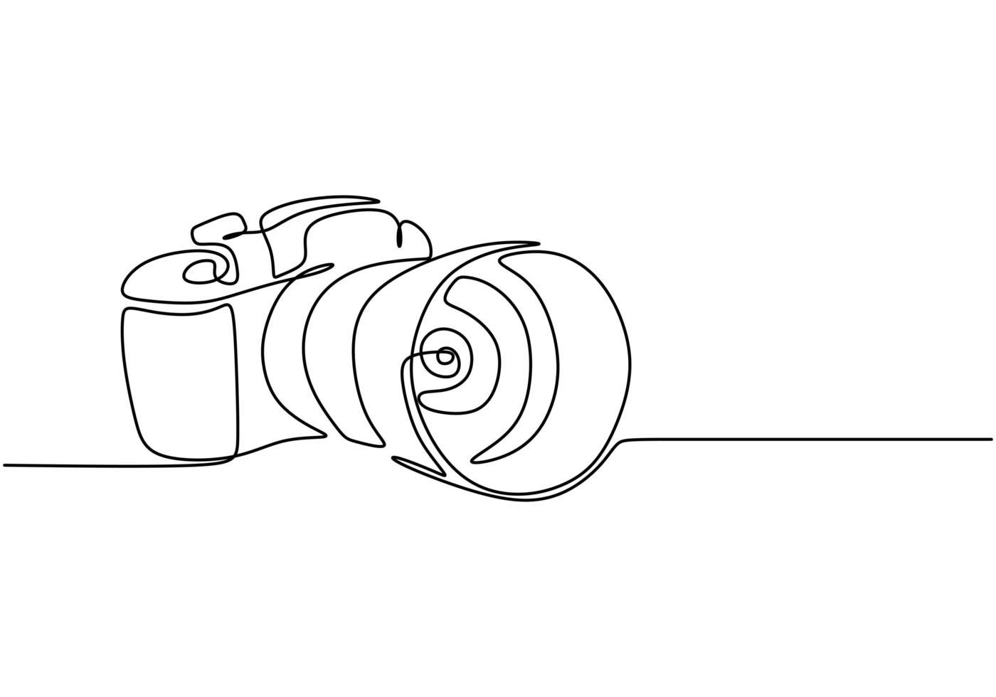 design de câmera de uma linha. vetor digital de câmera dslr com estilo linear minimalismo de desenho de linha única contínua. conceito de equipamento fotográfico isolado no fundo branco ilustração vetorial design