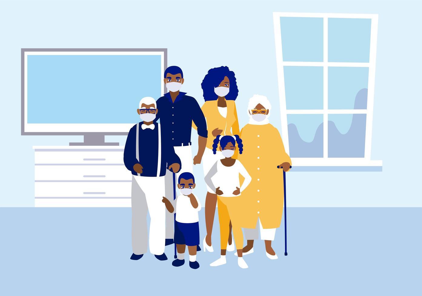 família com máscaras em casa desenho vetorial vetor