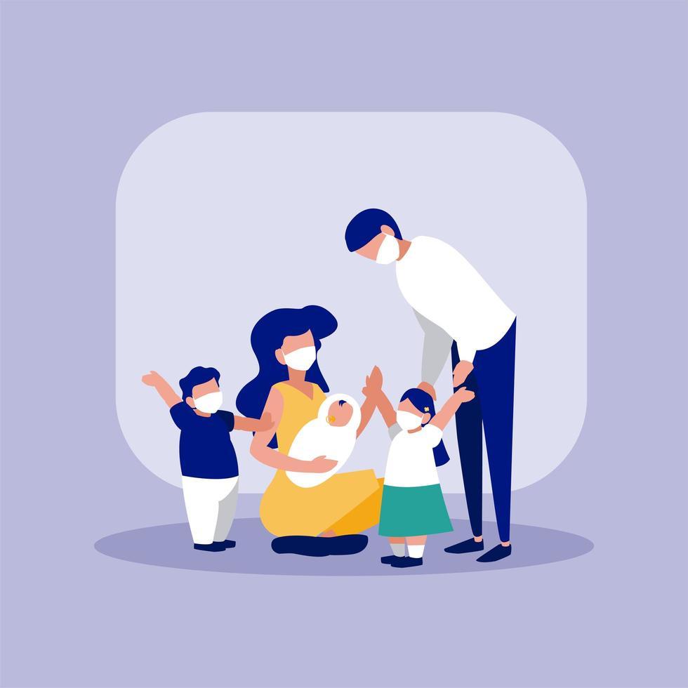 família com máscaras na frente do frame vector design
