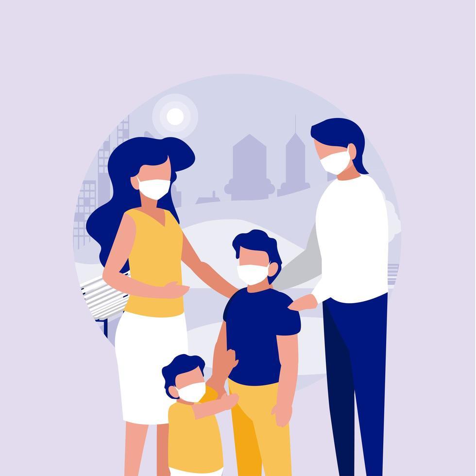 família com máscaras no parque em frente ao desenho vetorial da cidade vetor