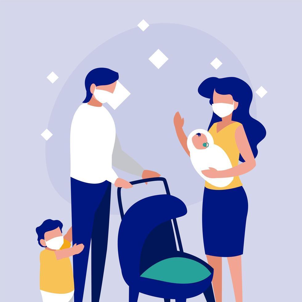 família com máscaras na frente do desenho vetorial de círculo vetor