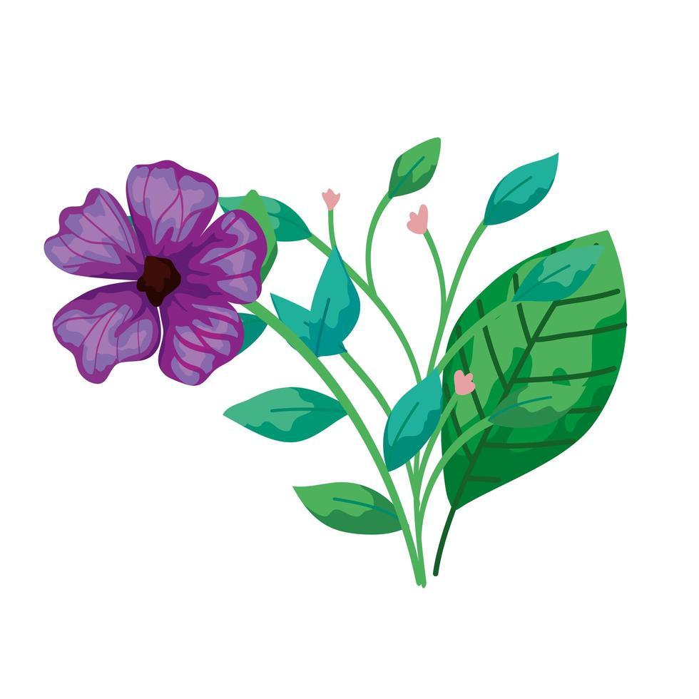 flor roxa fofa com ramos e folhas vetor