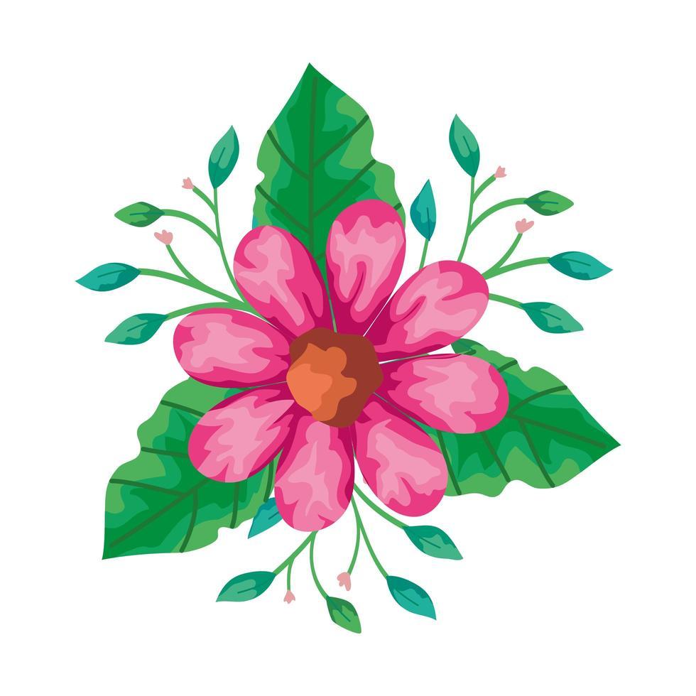 flor fofa rosa com ícone isolado de ramos e folhas vetor